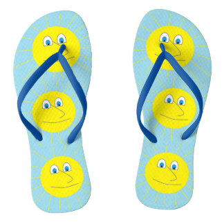 Cute Smiley Sun Pattern Light Blue Flip Flops