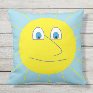 Cute Smiley Sun with Blue Eyes Drawing Throw Pillow
