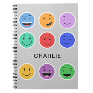 Cute Smileys custom name notebook