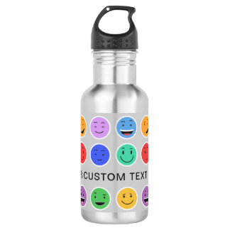 Cute Smileys custom text water bottles