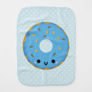 Cute Smiling Blue Donut Burp Cloth