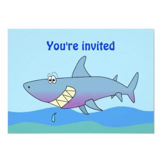 Cute Smiling Cartoon Shark Party Invitations