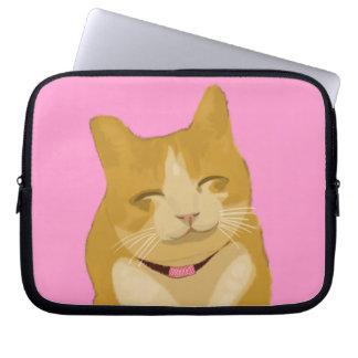 Cute smiling cat laptop sleeve