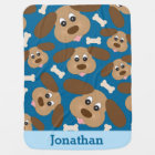 Cute Smiling Dog with Big Ears Personalized Baby Blanket