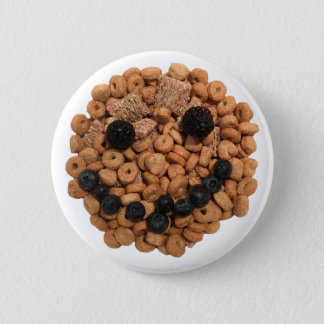 Cute Smiling Fruit and Cereal Face 2 Inch Round Button