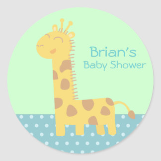 Cute smiling giraffe with polka dots floor classic round sticker