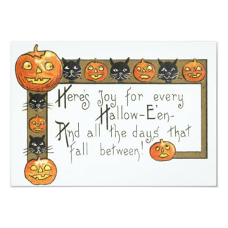 Cute Smiling Jack O Lantern Black Cat Card