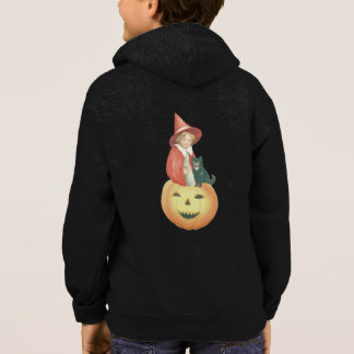 Cute Smiling Jack O Lantern Witch Black Cat Hoodie