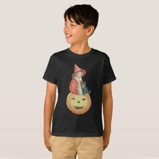 Cute Smiling Jack O Lantern Witch Black Cat T-Shirt