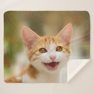Cute Smiling Kitten Face _ Funny Cat Meow Photo .. Sherpa Blanket
