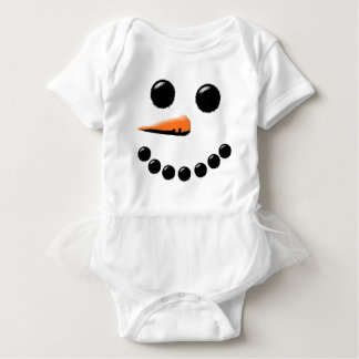 Cute Smiling Snowman Face Festive Holiday Xmas Baby Bodysuit
