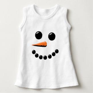 Cute Smiling Snowman Face Festive Holiday Xmas Dress
