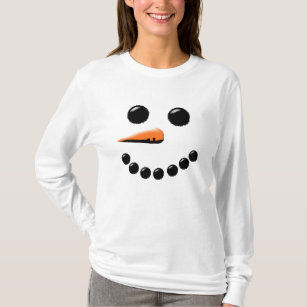 Adorable Funny Snowman Face T-shirt Kid/'s Fine Jersey Tee Top Christmas Holiday Hat Frosty Toddler White Baby Blue Pink
