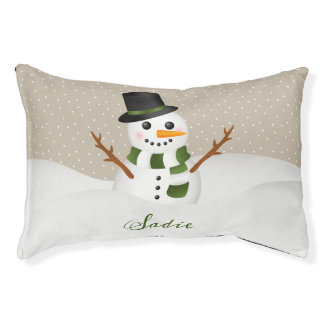 Cute Smiling Snowman With Pet's Name Christmas Pet Bed