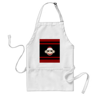 Cute Smiling Sock Monkey Face on Red Black Aprons