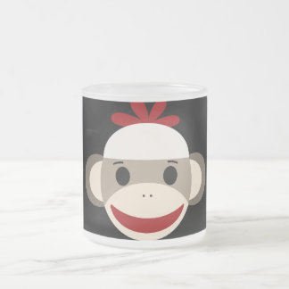 Cute Smiling Sock Monkey Face on Red Black Frosted Glass Mug