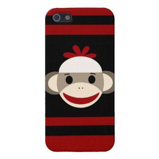 Cute Smiling Sock Monkey Face on Red Black iPhone 5 Cases