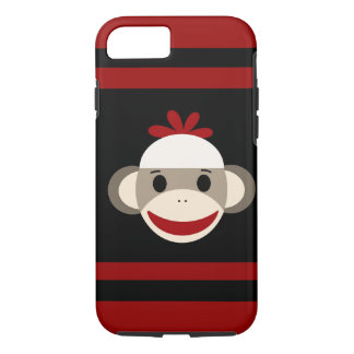 Cute Smiling Sock Monkey Face on Red Black iPhone 7 Case