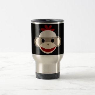 Cute Smiling Sock Monkey Face on Red Black Travel Mug