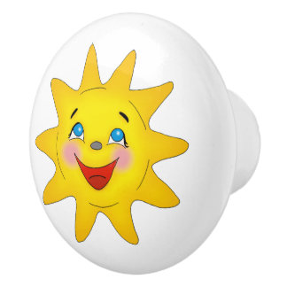 Cute Smiling Sun Ceramic Knob