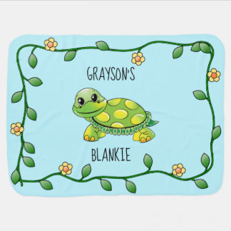 Cute Smiling Turtle with Flower Frame Personalized Baby Blanket