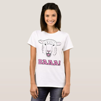 Cute Smiling White Sheep Face Illustration Baaa! T-Shirt