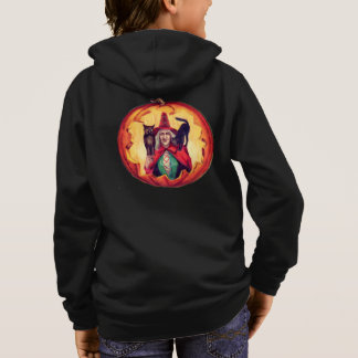 Cute Smiling Witch Owl Black Cat Hoodie