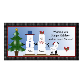 Cute S'mores Couple with Dog Christmas Card Photo Cards