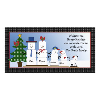 Cute S'mores Family with Dog Christmas Card Photo Card Template