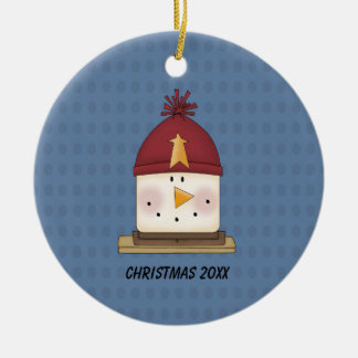 Cute S'mores Snowman Christmas Ornament