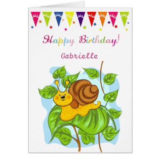 Cute snail, balloons and cake Birthday Card