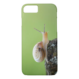 Cute Snail on Edge With Green Background iPhone 7 Case