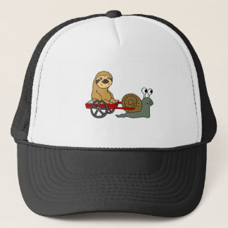 Cute Snail Pulling Sloth in Red Wagon Trucker Hat