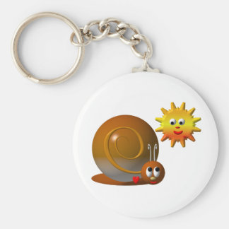Cute snail with smiling sun keychain