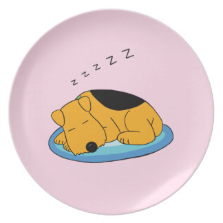 Cute Snoring Airedale Terrier Dog Melamine Plate