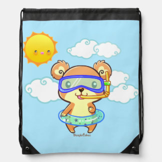 Cute Snorkeling Bear Drawstring Backpack