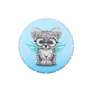 Cute Snow Leopard Cub Fairy Wearing Glasses Blue