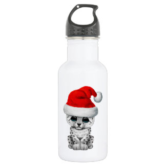 Cute Snow leopard Cub Wearing a Santa Hat 532 Ml Water Bottle