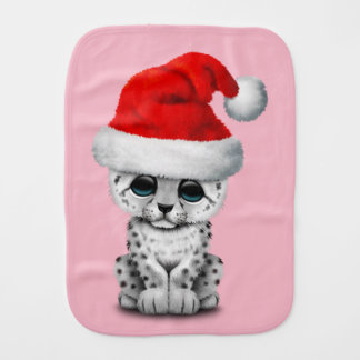 Cute Snow leopard Cub Wearing a Santa Hat Burp Cloth