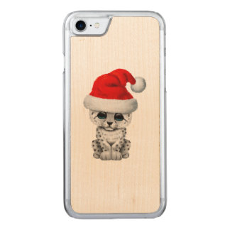Cute Snow leopard Cub Wearing a Santa Hat Carved iPhone 8/7 Case