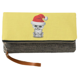 Cute Snow leopard Cub Wearing a Santa Hat Clutch