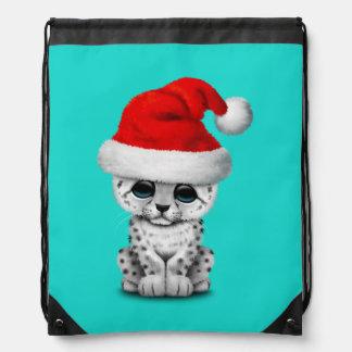 Cute Snow leopard Cub Wearing a Santa Hat Drawstring Bag