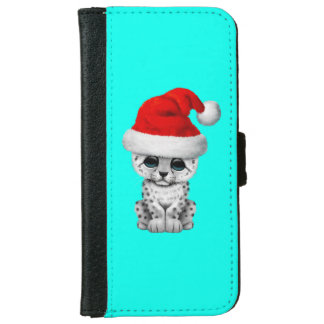 Cute Snow leopard Cub Wearing a Santa Hat iPhone 6 Wallet Case