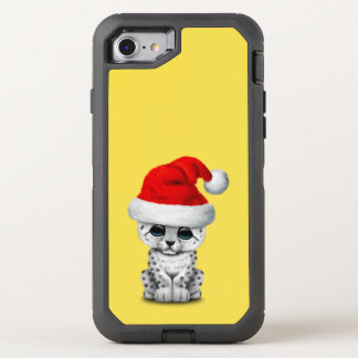 Cute Snow leopard Cub Wearing a Santa Hat OtterBox Defender iPhone 8/7 Case
