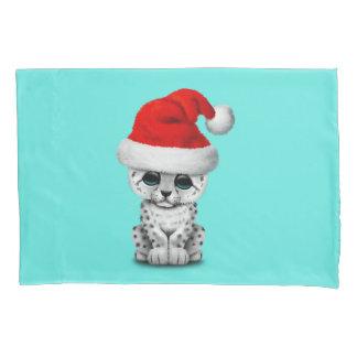 Cute Snow leopard Cub Wearing a Santa Hat Pillowcase