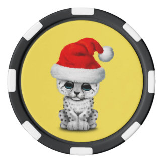 Cute Snow leopard Cub Wearing a Santa Hat Poker Chips