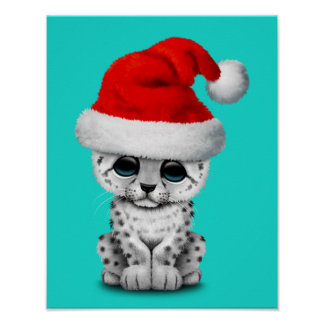 Cute Snow leopard Cub Wearing a Santa Hat Poster