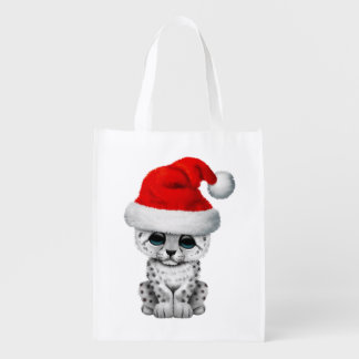 Cute Snow leopard Cub Wearing a Santa Hat Reusable Grocery Bag