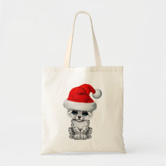 Cute Snow leopard Cub Wearing a Santa Hat Tote Bag