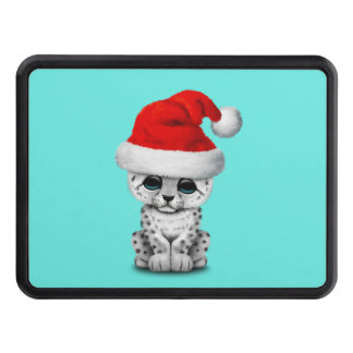 Cute Snow leopard Cub Wearing a Santa Hat Trailer Hitch Cover